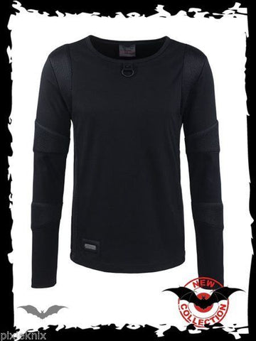 Black Long Sleeve top with padded arm detail