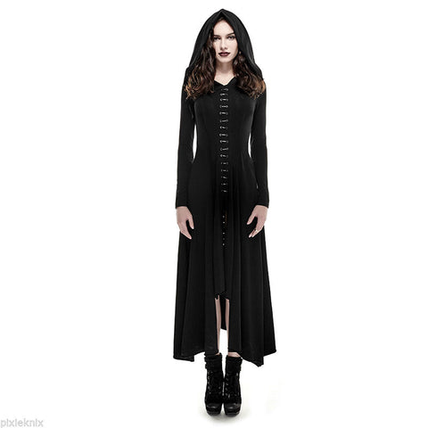 Black Witch Hooded Dress/Coat Gothic Q-290
