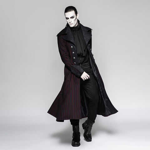 Steampunk Striped Long Coat Red Y-742 RD