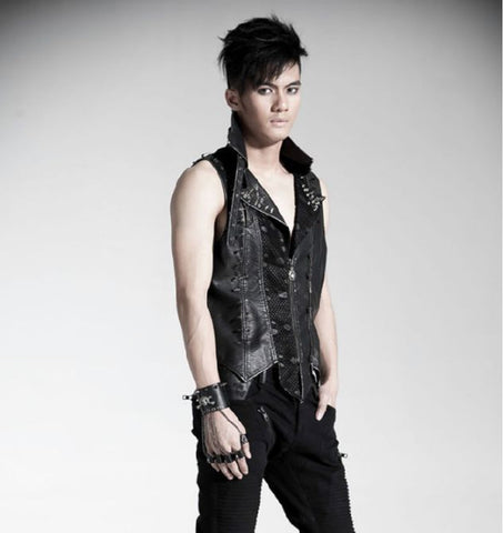 Spike Studded Sleeveless Vest Jacket Y-365M