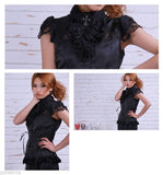 Frilly Gothic Lolita Blouse black satin & lace 21061B