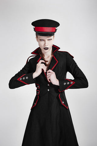 Rebella Military Long Coat With Red Trim Y-675