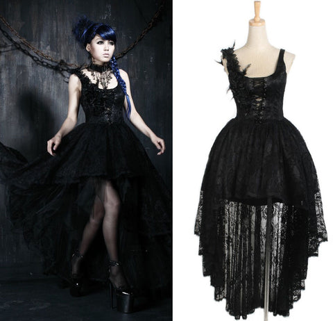 Gothic Evening Dress with Lace Train Q-174