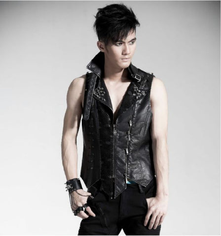 Spike Studded Sleeveless Vest Jacket Mens Y-365M