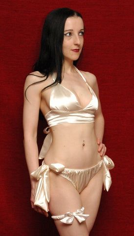 Tie Side Satin Set Ivory