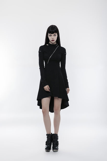 Asymmetric zip front dress OPQ-236