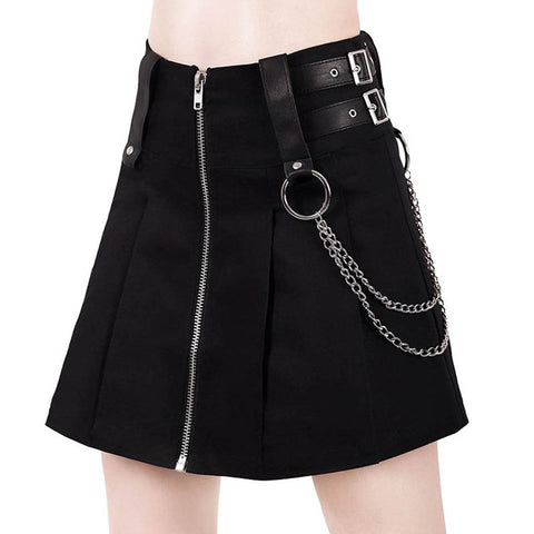 Gothic Mini Skirt with Chain