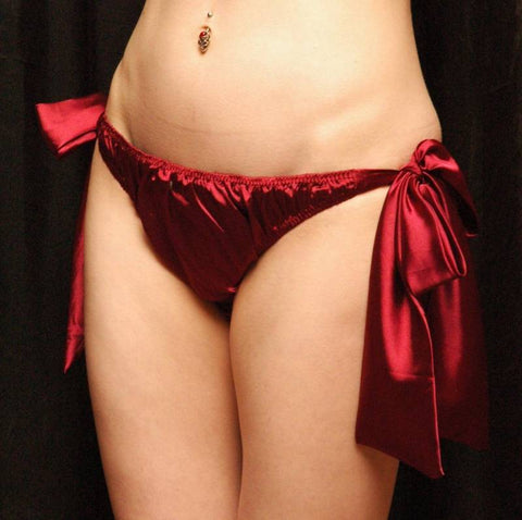 Tie Side Satin Knickers Burgundy