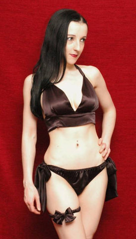 Tie Side Satin Set Black