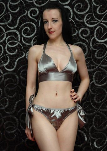 Tie Side Satin Set Silver
