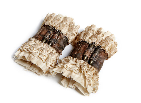 Steampunk Lace and Leather cuffs