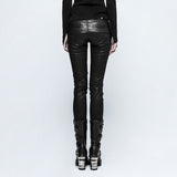 Grid Stitch PU Leather Trousers K-297