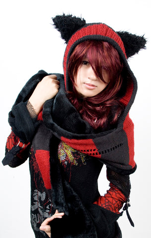 Kitty Scarf with Cat ear Hood