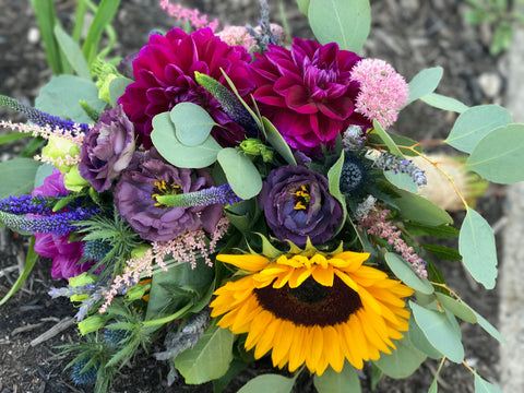wedding bride's bouquet from gig morris florist in belmar, new jersey wildflowers bridal bouquet sunflowers dahlias lavender