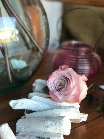 Blush rose boutonnière by Gig Morris florist in Belmar, nj at crystal point in pt. pleasant, nj