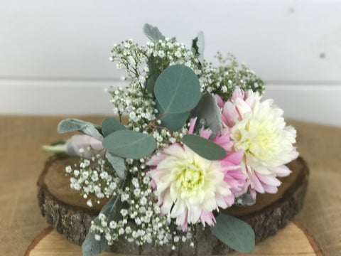 Bridesmaid's bouquet done by Gig Morris Florist in Belmar, NJ at Crystal Point in Pt. Pleasant, NJ with baby's breath, dahlias and eucalyptus in blush tones