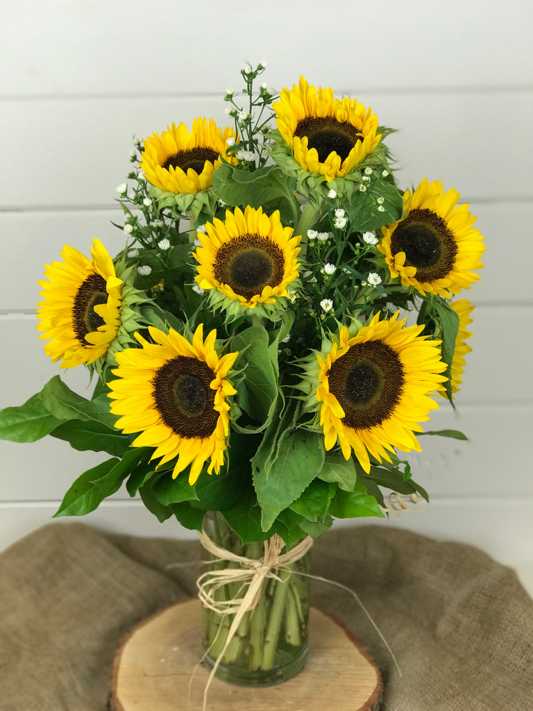 Sunflower floral arrangement in a vase for Fall from a local flower shop in Belmar, New Jersey Gig Morris Florist