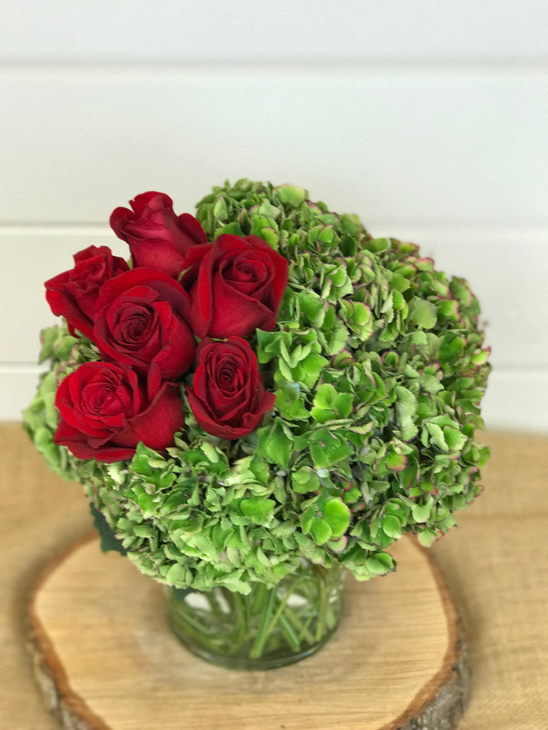 Compact vase arrangement of hydrangea and red roses local flower shop in Belmar, New Jersey Gig Morris Florist