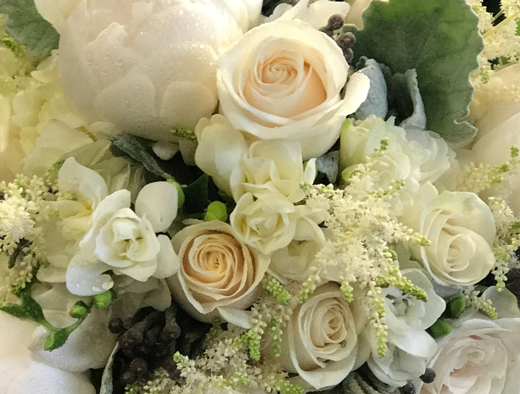 White custom flower arrangements by local flower shop in Belmar, New Jersey