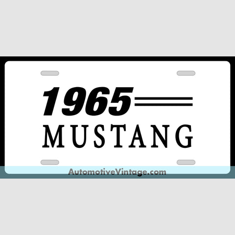 1965 Ford Mustang Custom License Plate White With Black Text
