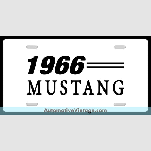 1966 Ford Mustang Custom License Plate White With Black Text