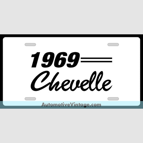 Chevrolet 1969 Chevy Chevelle Custom License Plate White With Black Text