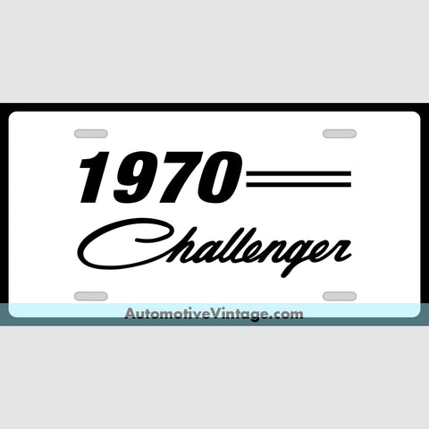 Mopar 1970 Dodge Challenger Custom License Plate White With Black Text