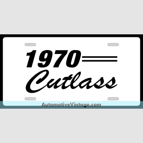 1970 Oldsmobile Cutlass Custom License Plate White With Black Text