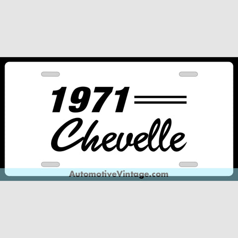 Chevrolet 1971 Chevy Chevelle Custom License Plate White With Black Text
