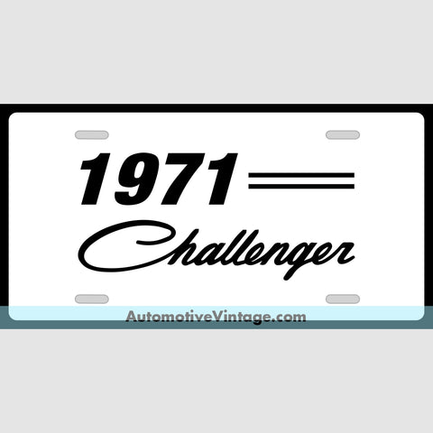 Mopar 1971 Dodge Challenger Custom License Plate White With Black Text