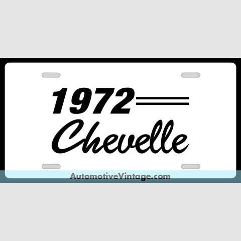 Chevrolet 1972 Chevy Chevelle Custom License Plate White With Black Text