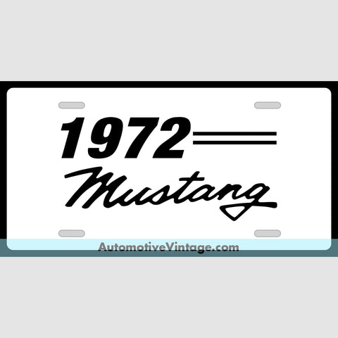 1972 Ford Mustang Custom License Plate White With Black Text