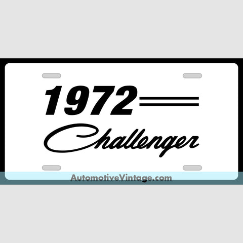 Mopar 1972 Dodge Challenger Custom License Plate White With Black Text