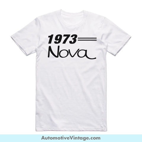 1973 Chevrolet Nova Short Sleeve Car T-Shirt White / S Front Of Shirt T-Shirt