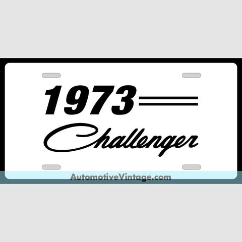 Mopar 1973 Dodge Challenger Custom License Plate White With Black Text