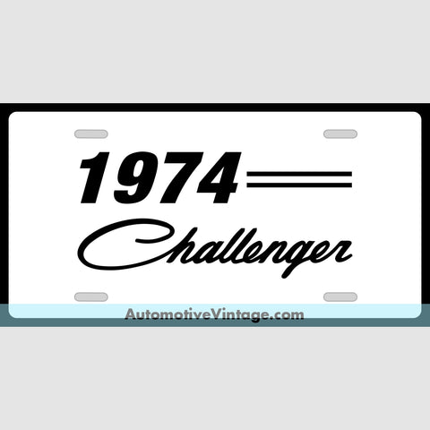 Mopar 1974 Dodge Challenger Custom License Plate White With Black Text