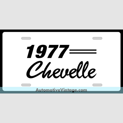 Chevrolet 1977 Chevy Chevelle Custom License Plate White With Black Text