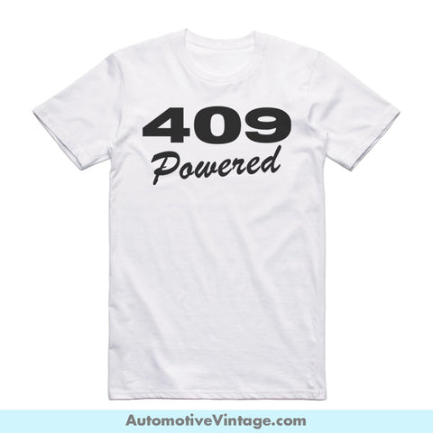 Chevy Chevrolet 409 Emblem Engine Size Short Sleeve Car T-Shirt White / S Front Of Shirt T-Shirt