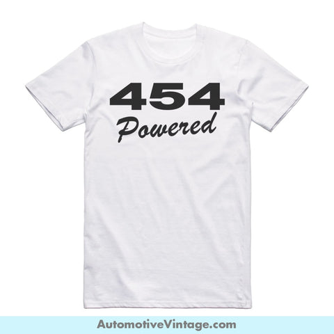 Chevy Chevrolet 454 Emblem Engine Size Short Sleeve Car T-Shirt White / S Front Of Shirt T-Shirt