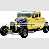 American Graffiti 1932 Deuce Coupe Indoor Car Wall Sticker 12 Wide / Matte Finish