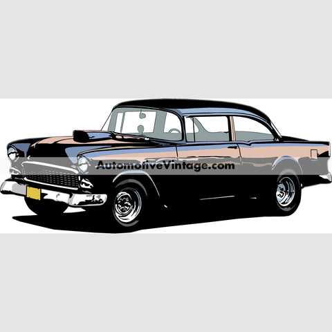 American Graffiti 1955 Chevy Indoor Car Wall Sticker 12 Wide / Matte Finish