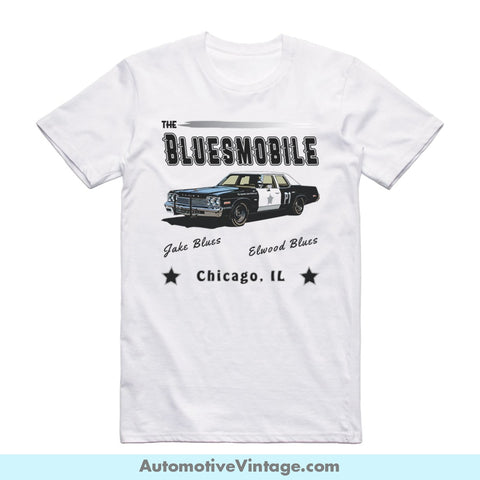 The Blues Brothers Bluesmobile Short Sleeve Movie T-Shirt White / S Front Of Shirt T-Shirt