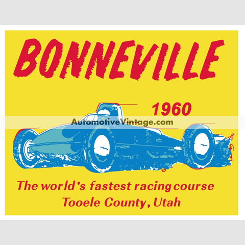 Bonneville Salt Flats 1960 Drag Racing Car Sticker Stickers