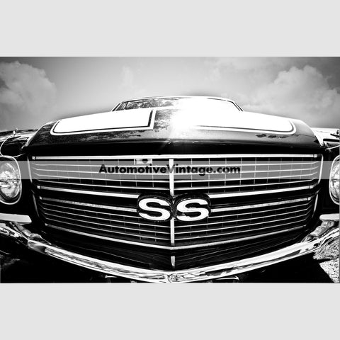 Chevrolet Chevelle Ss High Resolution Black And White Premium Car Poster 24 Wide X 18