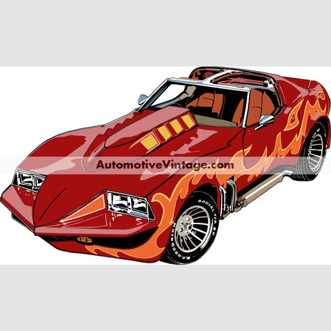 Corvette Summer Indoor Car Wall Sticker 12 Wide / Matte Finish