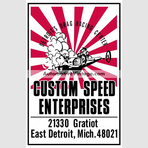 Custom Speed Enterprises Drag Racing Auto Parts Car Sticker Stickers
