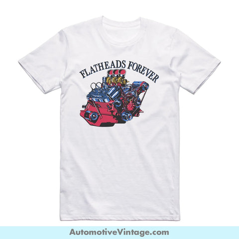 Flatheads Forever Tri-Power Ford Short-Sleeve Hot Rod Car T-Shirt White / S Front Of Shirt