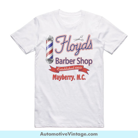 Floyds Barber Shop Andy Griffith Show Short Sleeve Television T-Shirt White / S Front Of Shirt