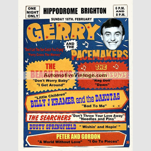 Gerry And The Pacemakers Nostalgic Music 13 X 19 Concert Poster Wide High