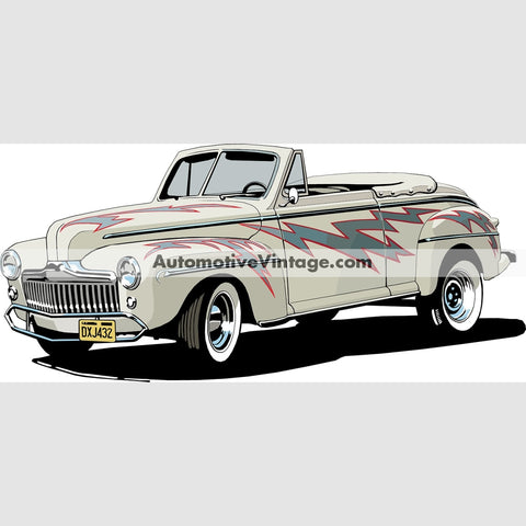 Grease Lightning 1948 Ford Indoor Car Wall Sticker 12 Wide / Matte Finish